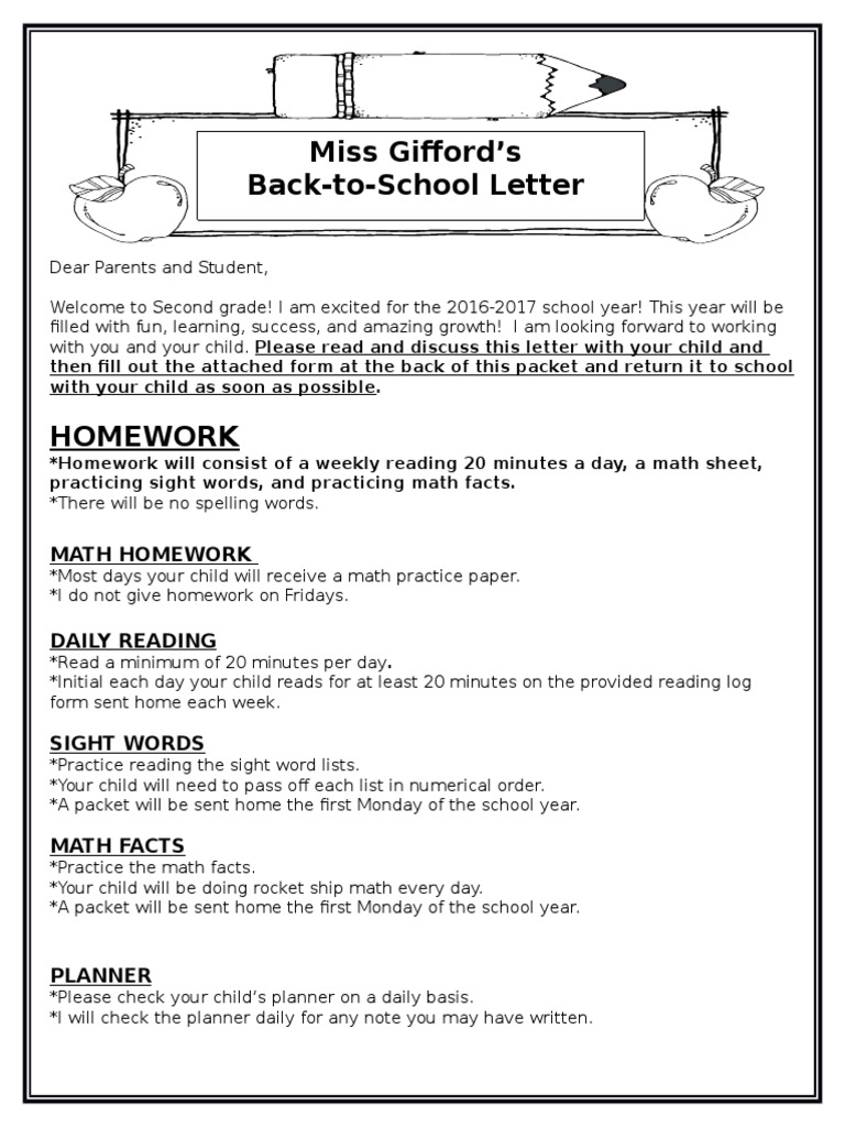 back to school welcome letter second grade