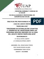 PROGRAMA DE ESTIMULACIÓN COGNITIVA Y  DINÁMICAS DE CREATIVIDAD PARA LAS PERSONAS ADULTAS MAYORES DE LA CASA DEL ADULTO MAYOR PAMPLONA ALTA - LIMA PERÚ