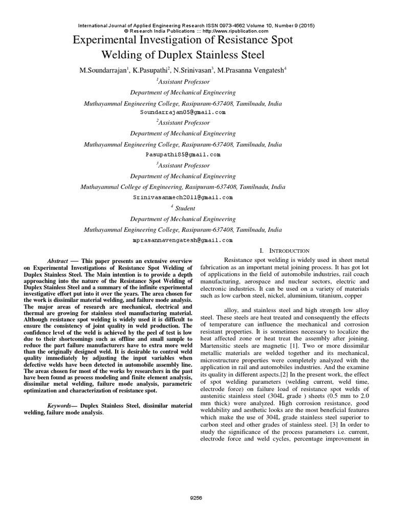 Experimental Investigation Of Resistance Spot Welding Duplex Lobe Diagram Stainless Steel Heat Treating