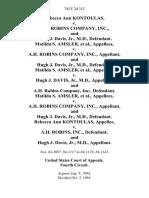 Rebecca Ann Kontoulas v. A.H. Robins Company, Inc., and Hugh J. Davis, Jr., M.D., Matilda S. Amsler v. A.H. Robins Company, Inc., and Hugh J. Davis, Jr., M.D., Matilda S. Amsler v. Hugh J. Davis, Jr., M.D., and A.H. Robins Company, Inc., Matilda S. Amsler v. A.H. Robins Company, Inc., and Hugh J. Davis, Jr., M.D., Rebecca Ann Kontoulas v. A.H. Robins, Inc., and Hugh J. Davis, Jr., M.D., 745 F.2d 312, 4th Cir. (1984)