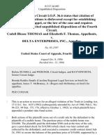Codell Blease Thomas and Elizabeth F. Thomas v. Delta Enterprises, Inc., 813 F.2d 403, 4th Cir. (1986)