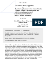 Arthur Garland Hess v. Travis Medlock, Attorney General of the State of South Carolina William D. Leeke, Commissioner of the South Carolina Department of Corrections and the State of South Carolina, 820 F.2d 1368, 4th Cir. (1987)