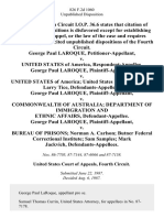 George Paul Laroque v. United States of America, George Paul Laroque v. United States of America United States Marshal Service Larry Tice, George Paul Laroque v. Commonwealth of Australia Department of Immigration and Ethnic Affairs, George Paul Laroque v. Bureau of Prisons Norman A. Carlson Butner Federal Correctional Institute Sam Samples Mark Jackvich, 826 F.2d 1060, 4th Cir. (1987)