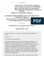 Martha W. Williams v. Newport News Shipbuilding and Dry Dock Company Director, Office of Workers' Compensation Programs, United States Department of Labor, 47 F.3d 1166, 4th Cir. (1995)