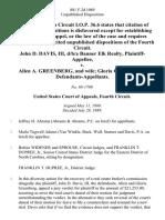 John D. Davis, Iii, D/B/A Banner Elk Realty v. Allen A. Greenberg, and Wife Gloria G. Greenberg, 881 F.2d 1069, 4th Cir. (1989)