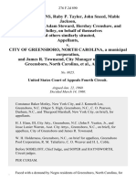 Deloris Tonkins, Ruby P. Taylor, John Sneed, Mable Jackson, James Webster, Adam Steward, Hershey Crenshaw, and Julia Holley, on Behalf of Themselves and Others Similarly Situated v. City of Greensboro, North Carolina, a Municipal Corporation, and James R. Townsend, City Manager of the City of Greensboro, North Carolina, 276 F.2d 890, 4th Cir. (1960)