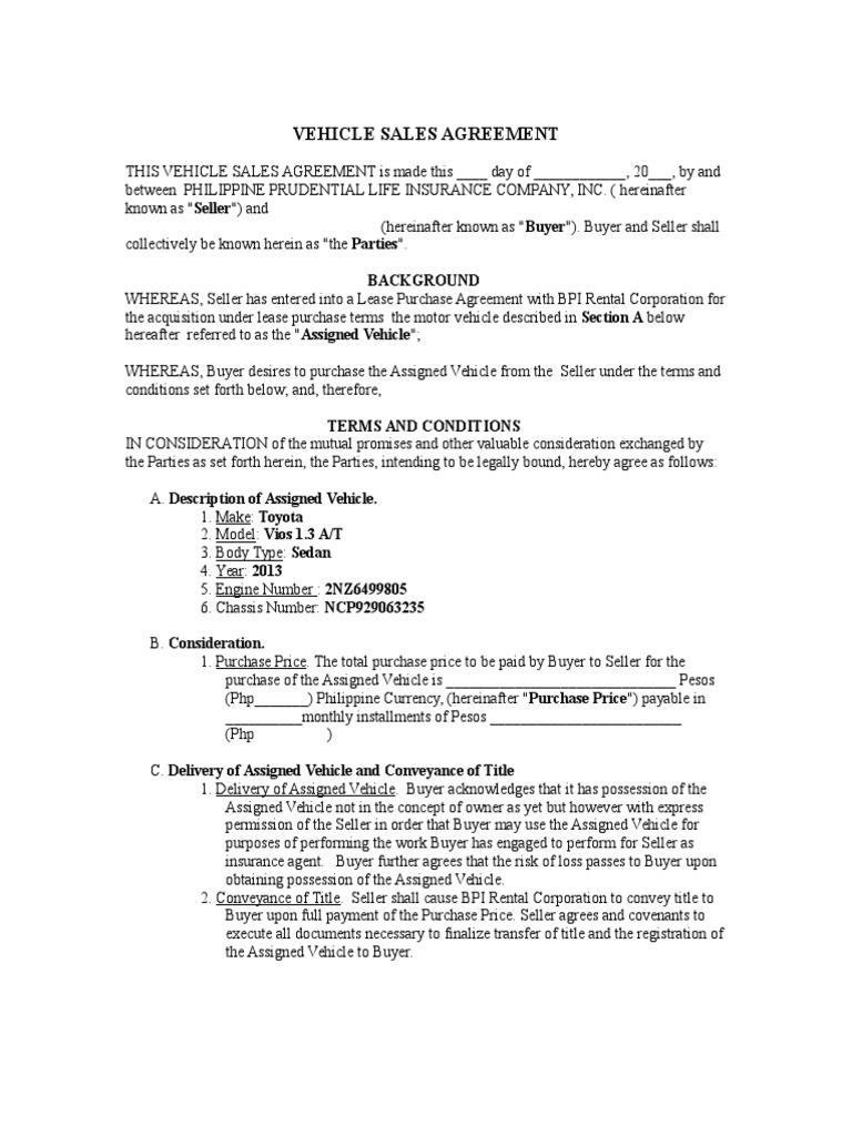 Lovely VEHICLE SALES AGREEMENT.doc | Sales | Jurisdiction