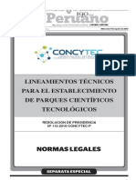 CONCYTEC 2016 Lineamientos Técnicos Para El Establecimiento de Parques Tecnológicos, Res Pres 112