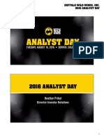 BWLD Buffalo Wild Wings Aug 2016 Analyst Day Presentetion Slide Deck