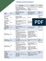 dress code table pdf