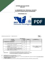 Sistema de Evaluación SDE-2014