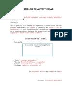 Formato para Certificado de Autenticidad Obra de Arte