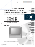 Toshiba Mw20f11 Mw20f11 Combination Flat Color Television and Video Cassette Recorder and Dvd Video Player Mw20f11 Mw24f11 Users Manual