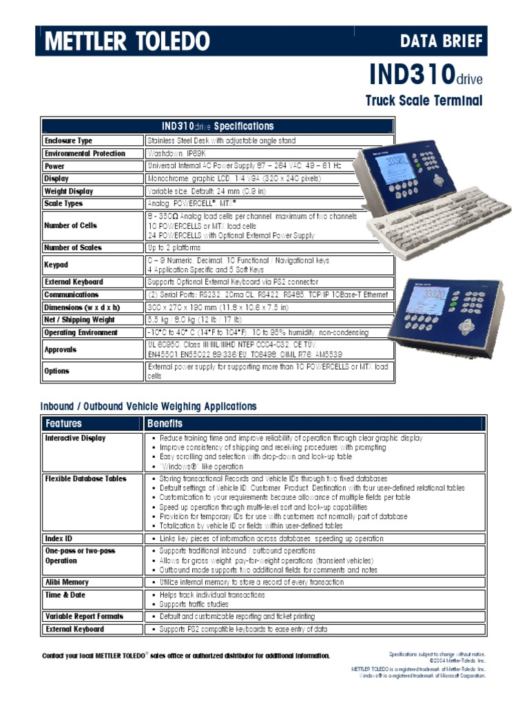 Mettler Toledo Ind 310 Manual Wiring Library Diagram Ind310drive Databrief Database Transaction Computer Keyboard