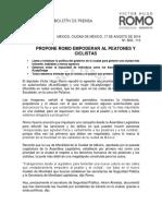 PROPONE ROMO EMPODERAR AL PEATONES Y CICLISTAS