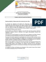 Compte Rendu Du Conseil Des Ministres - Mercredi 17 Août 2016