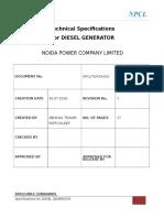 Diesel Generator Specs for 625 KVA & 250 KVA