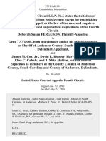 Deborah Susan Ferguson v. Gene Taylor, Both Individually and in His Official Capacity as Sheriff of Anderson County, South Carolina, and James M. Cox, Jr., David L. Hooper, Harvie E. Banister, Elise C. Cahaly, and J. Mike Holden, in Their Official Capacities as Members of the County Council of Anderson County, South Carolina and County of Anderson, 933 F.2d 1001, 4th Cir. (1991)