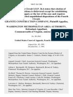 Granite Construction Company v. Washington Metropolitan Area Authority, Commonwealth of Virginia, Amicus Curiae, 948 F.2d 1280, 4th Cir. (1991)