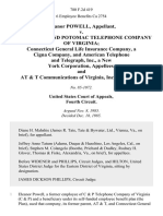 Eleanor Powell v. Chesapeake and Potomac Telephone Company of Virginia Connecticut General Life Insurance Company, a Cigna Company, and American Telephone and Telegraph, Inc., a New York Corporation, and at & T Communications of Virginia, Inc., 780 F.2d 419, 4th Cir. (1985)