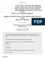 Dale E. Palo v. Liebig International, Incorporated Heinrich Liebig, 976 F.2d 726, 4th Cir. (1992)