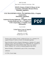 Larry Edward Dixon Estate of Sally H. Dixon, by Her Personal Representative Johnathan Branch Dixon v. Csx Transportation, Incorporated, a Virginia Corporation, and Seaboard System Railroad, a Virginia Corporation Seaboard Systems Railroad, Inc., a Virginia Corporation Csx Corporation, a Virginia Corporation, 990 F.2d 1440, 4th Cir. (1993)