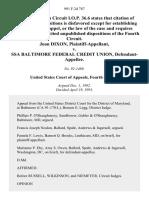 Joan Dixon v. Ssa Baltimore Federal Credit Union, 991 F.2d 787, 4th Cir. (1993)