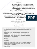 Diann L. Dearing v. Director, Office of Workers' Compensation Programs, United States Department of Labor Newport News Shipbuilding and Dry Dock Company, 998 F.2d 1008, 4th Cir. (1993)