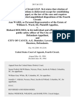 Ann Ward, as Personal Representative of the Estate of William E. Ward, III v. Richard Holmes, in His Individual and Official Capacity as Public Safety Officer of the City of Cayce, and City of Cayce A.G. Dantzler Lavern Jumper Ellie Huestess, 28 F.3d 1212, 4th Cir. (1994)