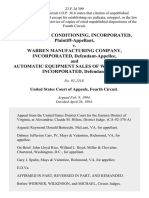 Bennett Air Conditioning, Incorporated v. Warren Manufacturing Company, Incorporated, and Automatic Equipment Sales of Washington, Incorporated, 23 F.3d 399, 4th Cir. (1994)