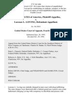 United States v. Lorenzo L. Loving, 37 F.3d 1496, 4th Cir. (1994)