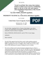 Seyvelle Parks v. Piedmont Technical College, 76 F.3d 374, 4th Cir. (1996)