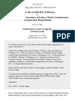 Paul A. Blackburn v. Robert B. Reich, Secretary of Labor Metric Constructors, Incorporated, 79 F.3d 1375, 4th Cir. (1996)