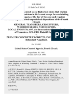 General Teamsters, Chauffeurs, Warehousemen and Helpers, Local Union No. 697, A/w International Brotherhood of Teamsters, Afl-Cio v. Premier Concrete Products, Incorporated, 81 F.3d 149, 4th Cir. (1996)