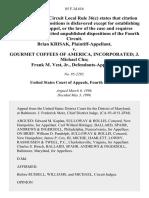 Brian Krisak v. Gourmet Coffees of America, Incorporated J. Michael Chu Frank M. Vest, Jr., 85 F.3d 616, 4th Cir. (1996)