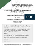 Transamerica Occidental Life Insurance Company, a California Corporation v. Launeil Sanders, 91 F.3d 134, 4th Cir. (1996)