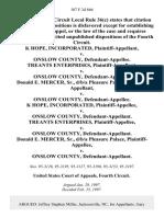 K Hope, Incorporated v. Onslow County, Treants Enterprises v. Onslow County, Donald E. Mercer, Sr., D/B/A Pleasure Palace v. Onslow County, K Hope, Incorporated v. Onslow County, Treants Enterprises v. Onslow County, Donald E. Mercer, Sr., D/B/A Pleasure Palace v. Onslow County, 107 F.3d 866, 4th Cir. (1997)