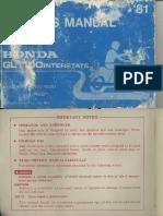 Honda GL1100 Interstate 1981 Owners Manual