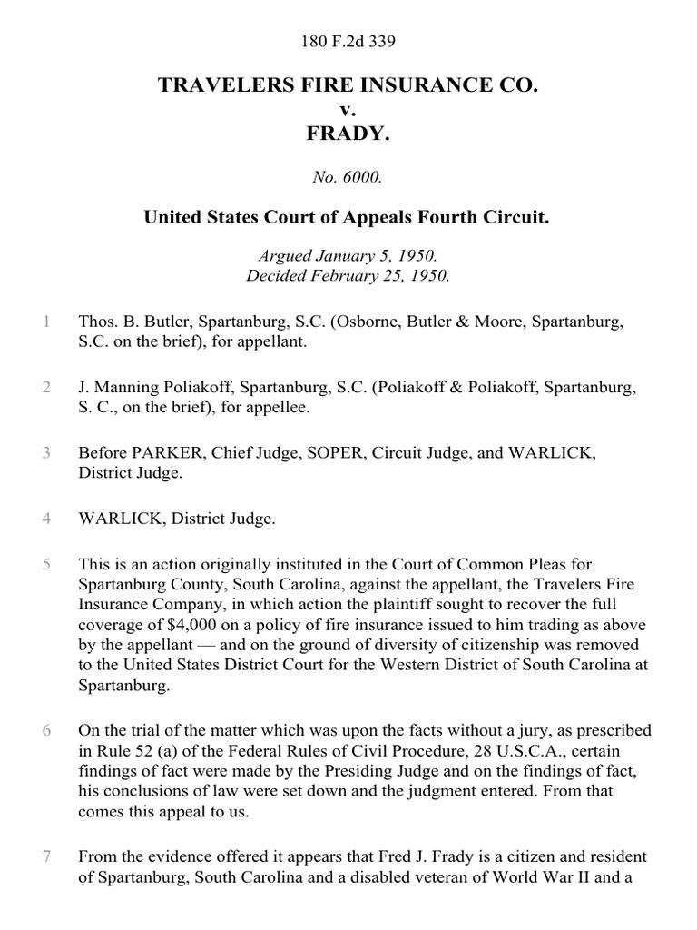 Travelers Fire Insurance Co. v. Frady.: United States ...