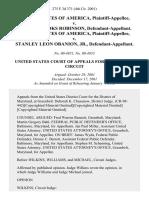 United States v. Joseph Brooks Robinson, United States of America v. Stanley Leon Obanion, Jr., 275 F.3d 371, 4th Cir. (2002)