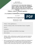 William L. Holly v. U.S. Parole Commission, 801 F.2d 394, 4th Cir. (1986)