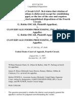 G. Robin Oscar v. Clovervale Foods Processing, Inc., G. Robin Oscar v. Clovervale Foods Processing, Inc., 833 F.2d 310, 4th Cir. (1987)