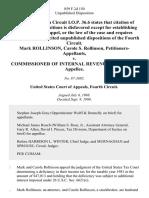 Mark Rollinson, Carole S. Rollinson v. Commissioner of Internal Revenue, 859 F.2d 150, 4th Cir. (1988)