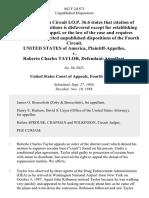 United States v. Roberto Charles Taylor, 862 F.2d 871, 4th Cir. (1988)