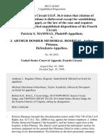 Patricia S. Mammay v. J. Arthur Dosher Memorial Hospital, Arthur Pittman, 885 F.2d 865, 4th Cir. (1989)