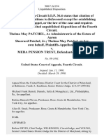 Thelma May Patchel, as Administratrix of the Estate of Aaron Sharrard Patchel, Jr. Thelma May Patchel, on Her Own Behalf v. Meba Pension Trust, 900 F.2d 254, 4th Cir. (1990)