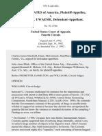 United States v. Innocent U. Uwaeme, 975 F.2d 1016, 4th Cir. (1992)