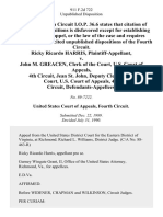 Ricky Ricardo Harris v. John M. Greacen, Clerk of the Court, U.S. Court of Appeals, 4th Circuit, Jean St. John, Deputy Clerk of the Court, U.S. Court of Appeals, 4th Circuit, 911 F.2d 722, 4th Cir. (1990)