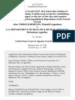Alice Throckmorton v. U.S. Department of Health & Human Services, 911 F.2d 725, 4th Cir. (1990)