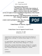 Automated Mailing and Processing Systems, Inc. v. Cost Containment Inc., Don Morrison, Robert Stewart, and United States of America, 922 F.2d 835, 4th Cir. (1991)